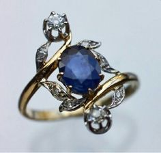 Belle époque,  saphire & diamonds ring. 1910. #saphirering