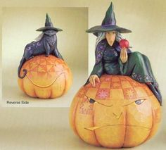 Jim Shore Halloween Sweet Sour Two Side Jack O Lantern Figurine Witch Cat Pump Witch Decor, Witch Cat, Witches Brew, Harvest Moon, Collectible Figurines, Lanterns, Santa, My Favorite Things, Disney