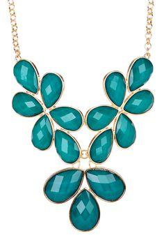 Gold & Emerald Resin Stone Cluster Bib Necklace on HauteLook