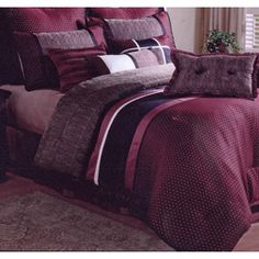@Overstock - This richly-colored comforter set features a luxurious geometric print in shades of burgundy over a dotted print. This 8-piece Le Mandir comforter set includes everything you need to create your very own restful escape.  http://www.overstock.com/Bedding-Bath/Le-Mandir-8-piece-Comforter-Set/5316214/product.html?CID=214117 $65.69