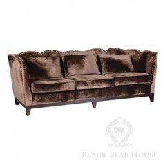 brązowa welurowa sofa black bear house