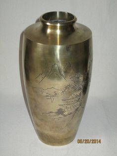 Vintage Japanese funeral urn, cast bronze. Beautiful shape and lovely hand etched image.