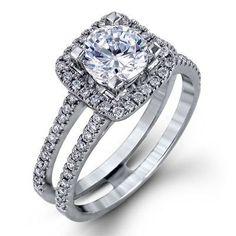 Simon G 18K White Gold Halo Engagement Ring Featuring 0.36 Carat Diamonds