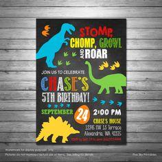 Dinosaur Birthday Invitations, Printable File, Dinosaur Dig Invitation, Jurrasic Invitation, Dino Birthday Party, Dinosaurs by PinkSkyPrintables on Etsy https://www.etsy.com/listing/476073649/dinosaur-birthday-invitations-printable