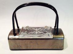 Vintage Lucite Silver Grey Purse 1950s