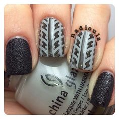 Tire Tread nails. I used China Glaze Bump In The Night and China Glaze Pelican Gray stamped using Cici&Sisi 02 in Wet n Wild Black Crème.