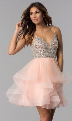 homecoming dresses This short tulle homecoming dress is sparkly and party-ready. With a dazzling sequin bodice and layered tulle skirt, this semi-formal party dress is flirty and fa Cute Homecoming Dresses, Hoco Dresses, Baby Girl Dresses, Pretty Dresses, Pink Dresses, Grad Dresses Short, Rose Gold Dresses Short, Quinceanera Dresses Short, Elegant Dresses
