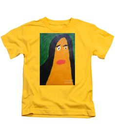 Patrick Francis Designer Kids Yellow T-Shirt featuring the painting Portrait Of Woman With Hair Loose 2015 - After Vincent Van Gogh by Patrick Francis
