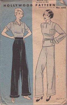 Vintage 30's palazzo pants & blouse, Hollywood 650, via MOMSPatterns