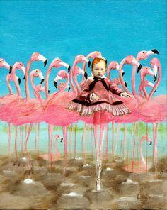 Flamingos Ballerina Art
