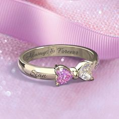 Personalize your own Adorable Accent Bow Promise Ring! Choose your metal, gemstones and engravings to create your perfect ring. Free shipping + free gift with purchase.