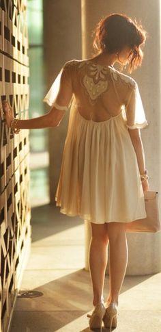 Sheer open back baby doll dress