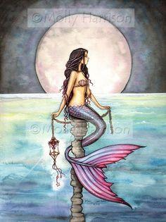 Mermaid Print - Watercolor Art - Mermaid Art Fantasy Print by Molly Harrison 'Enchanted Sea' Mermaid Artwork, Mermaid Pics, Mermaid Quotes, Mermaid Waves, Dragons, Mermaids And Mermen, Pics Of Mermaids, Mermaid Tattoos, Artist Portfolio
