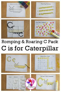 Romping & Roaring C Pack Letter Pack: C is for Caterpillar - a letter C pack that has prewriting, finding letters, tracing letters, coloring pages, shapes, puzzles and more - 3Dinosaurs.com #freeprintables #letterc #rompingroar #3dinosaurs #abcprintable Graphing Activities, Kids Learning Activities, Alphabet Activities, Hands On Activities, Insect Activities, Teaching Letter Sounds, Teaching Letters, Learning The Alphabet, Letter C Coloring Pages