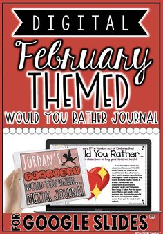 """This digital FEBRUARY THEMED """"Would You Rather"""" writing journal in Google Slides™ is a great way for students to engage in opinion writing through typed responses. There are writing prompts for Groundhog Day, Valentine's Day and more! Teacher Resources, Classroom Resources, Opinion Writing, Mobile Learning, School Subjects, Would You Rather, Elementary Teacher, My Teacher, Educational Technology"""