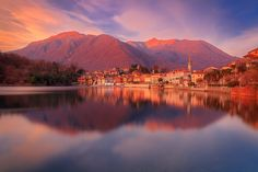 Sunrise over Lake Mergozzo, Piedmont, Italy, Europe