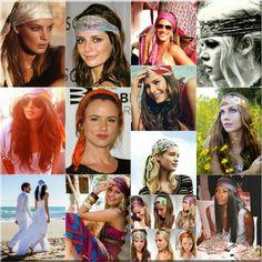 Pañuelos en la cabeza.estilo hippie