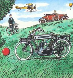 Illustration Kamil Lhoták Cool Motorcycles, Pin Art, Bicycle, Colours, Cool Stuff, Drawings, Vehicles, Illustration Children, Painting