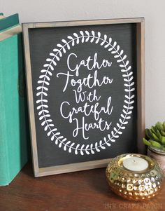 DIY Rustic Wood Framed Thanksgiving Sign with Free Silhouette Cut File!