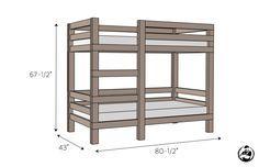 simple-diy-2x4-bunk-bed -Free DIY Plans | rogueengineer.com #SimpleDiy2x4BunkBed #DecorDIYplans