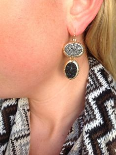 Gold, hematite, and black drusy earring