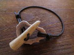 Antler Toggle Clasp Bracelet Anklet Bone Beads by AntlerArtisans Deer Antler Jewelry, Deer Antler Crafts, Antler Art, Deer Antlers, Bone Jewelry, Leather Jewelry, Leather Cord, Bohemian Bracelets, Bracelets For Men
