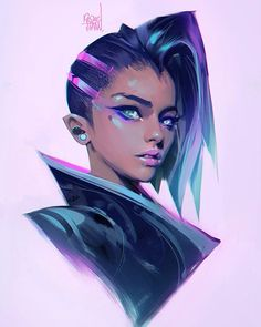 WEBSTA @ rossdraws - Thanks for the Birthday wishes! Here's my exploration of Sombra, the new Overwatch hero. Drawing her for next episode! ✌️-#sombra #overwatch #fanart #illustration #sketch #drawing #ow #anime #conceptart #digitalart #blizzard #blizzcon