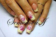 Gelnägel Selbst Machen Yulia 2014 - Hell Gelb mit Blumen Sticker