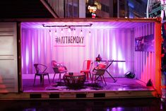 Hashtags covered decor in the party space. The move was intended to encourage guests to post to social channels as well as conjure a sense of community with the brand.  Photo: Quoc Ngo