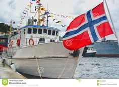 Norwegian Flag Waving On The Ship - Download From Over 59 Million High Quality Stock Photos, Images, Vectors. Sign up for FREE today. Image: 91346603