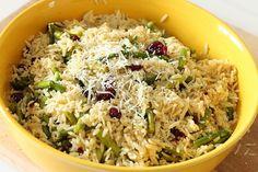 Orzo - asparagus - lemon - parmesan - dried cranberries - a good hot or cold pasta salad