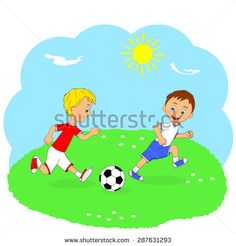 children,two boys playing football on a green meadow, illustration, vector