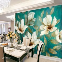 Retro Home Decor Mural Painting, Mural Art, Wall Murals, Wall Décor, Paintings, Flower Wall Decor, Wall Flowers, Painting Flowers, Retro Home Decor