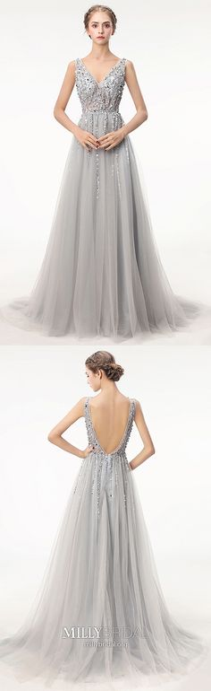 Gray Prom Dresses A Line, Long Formal Evening Dresses Open Back, V Neck Military Ball Dresses Tulle, Sequin Pageant Graduation Party Dresses Beading Modest Formal Dresses, Open Back Prom Dresses, Formal Dresses For Teens, Prom Dresses For Teens, A Line Prom Dresses, Prom Dresses Online, Pageant Dresses, Gray Long Dresses, Deb Dresses
