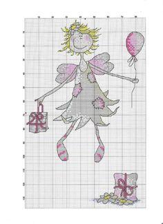 Hada globo 1 Cross Stitch Fairy, Cross Stitch Angels, Cross Stitch For Kids, Cross Stitch Needles, Cross Stitch Heart, Cross Stitch Cards, Counted Cross Stitch Patterns, Cross Stitch Designs, Cross Stitching