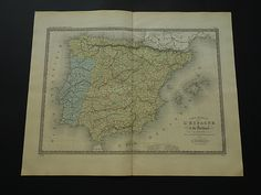 "Large antique map of Spain and Portugal - beautiful original 1875 hand-colored print - old vintage poster Madrid  Lisbon 48x60c 19x24"" by DecorativePrints on Etsy"
