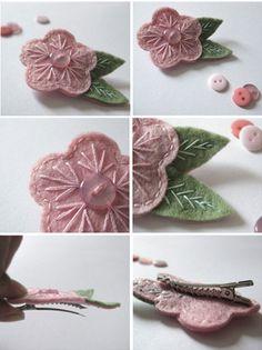 Pink felt flower hair clips