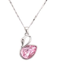Elegant Pink Swan Pendant Necklace in Silver Plated - Followbest.com  #Necklaces #Pendants #Fashion #Jewelry