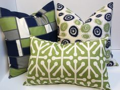 Set of 3 pillow covers, navy and olive green, toss pillow, throw pillow, housewares, home decor. $45.00, via Etsy.