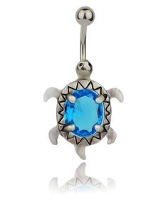 Body Frenzy - Turtle Steel Belly Ring With Aqua Blue Inset Gemstone, $9.99 (http://www.bodyfrenzy.com/turtle-belly-ring-aqua-blue-gemstone/)