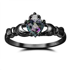 Mystic Rainbow Fire Topaz Black Gold 925 Sterling Silver 0.75 Diamond Accent Promise Wedding Engagement Anniversary Fidelity Ring Love Gift