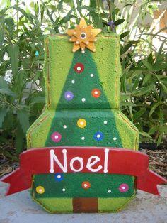 Noel Christmas Tree Patio Person by SunburstOutdoorDecor on Etsy Painted Bricks Crafts, Brick Crafts, Painted Pavers, Stone Crafts, Painted Rocks, Cement Pavers, Brick Pavers, Wood Crafts, Brick Art