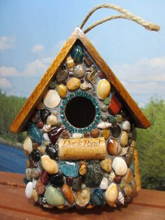 Tropical Mosaic Birdhouse by WinestoneBirdhouses on Etsy