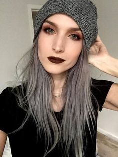 Image via We Heart It https://weheartit.com/entry/163763983 #beanie #fashion #grunge #lipstick #makeup #outfit #pale #style #pastelhair