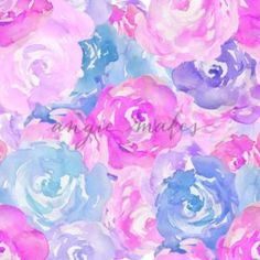 Bright Pink and Purple Watercolor Flower Pattern. Pink Watercolor Roses Pattern - Angie Makes Stock Shop