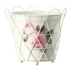 Ikea Shabby Chic Steel Plant Pot, Off-white | shopswell