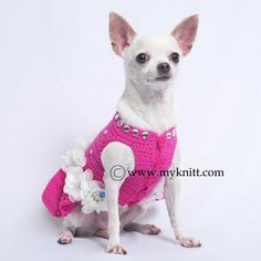 Flower Dog Bridesmaid Dress Pink With Shiny Rhinestones