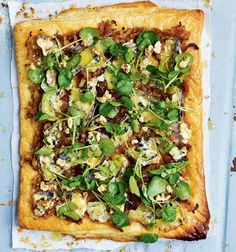 This blue cheese and sweet onion tart with watercress is simple to prepare and makes a tasty light meal.