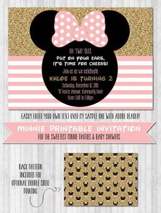 Plan the perfect Minnie Mouse party or baby shower with these sweet printable invites!   FIND MATCHING PRINTABLE PARTY DECOR PACK HERE  GLITTER NOTE: The glitter look in this pack comes from a digital glitter image (similar to a photo of glitter) so it can be printed on regular paper, there is no need for glitter paper.   HOW IT WORKS:       1. Purchase this invitation by clicking 'Add to cart' and you will be able to download the digital file immediately after purchase. You will also get…