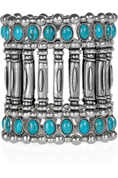 Silver-plated turquoise cuff by Philippe Audibert
